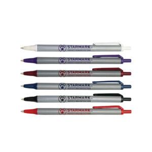 Click Action Personalized Pen, Silver Barrel